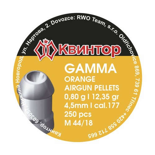 Kvintor Gamma Orange cal.4,5mm 250ks