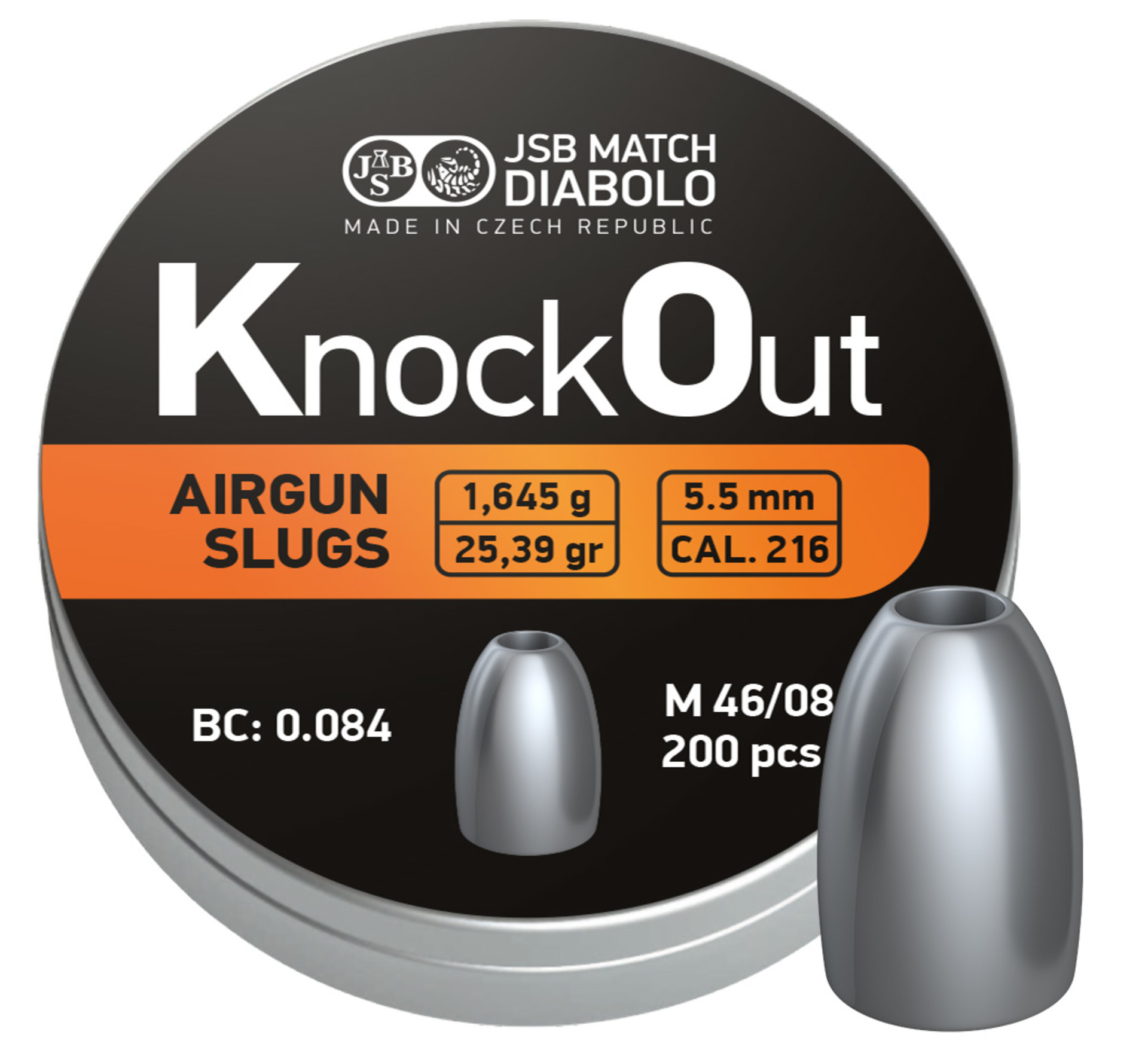Diabolo JSB KnockOut Slugs .216 200ks cal.5,5mm